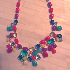 jcrew statement necklace with summery jewel tones